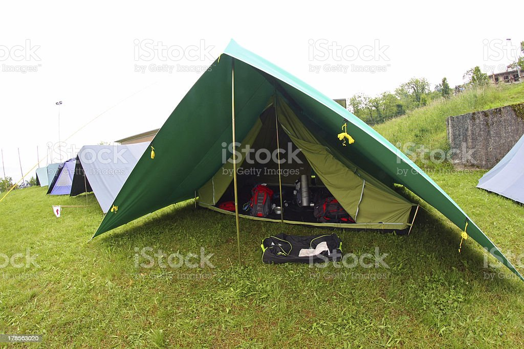 lined tents in a scout camp open air royalty-free stock photo