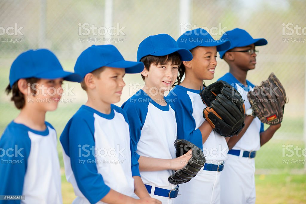Lined Up and Ready to Play stock photo