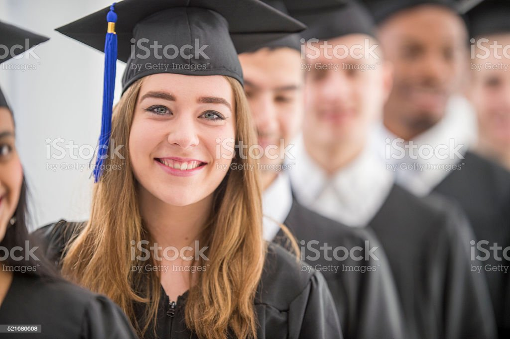 Lined Up for the Graduation Ceremony stock photo
