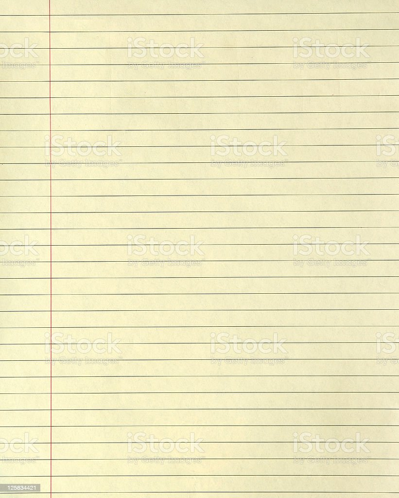 Lined Yellow Paper stock photo