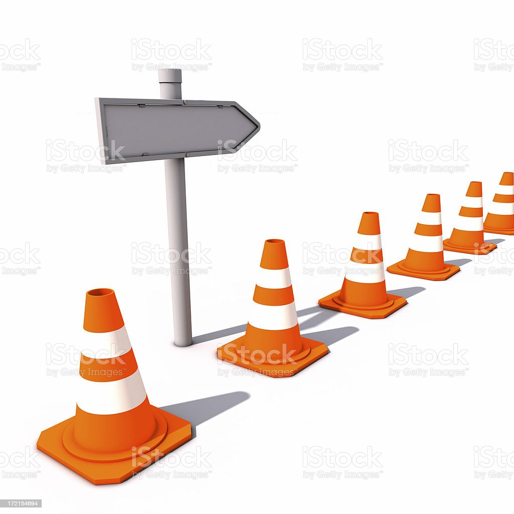 Lined-up Cones with signpost royalty-free stock photo
