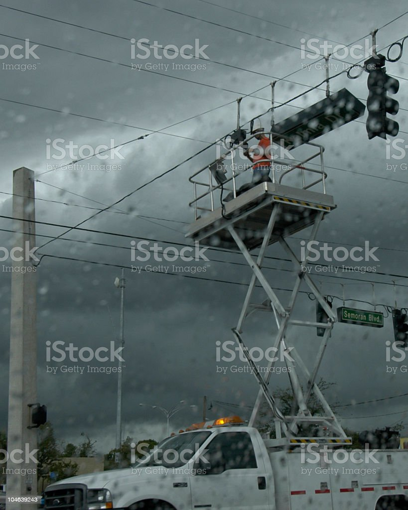 Lineman after the hurricane stock photo