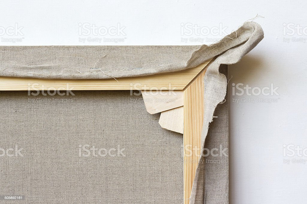 Linen canvas stretched on a wooden frame with wedges stock photo