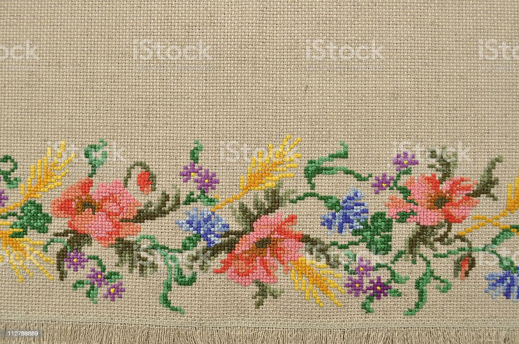Linen canvas with embroidery royalty-free stock photo