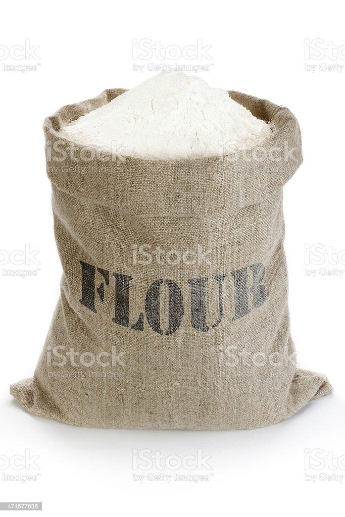 Linen sack with flour stock photo
