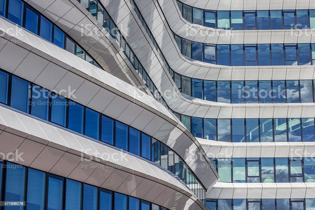 Lines and curves of a modern office building in Groningen stock photo