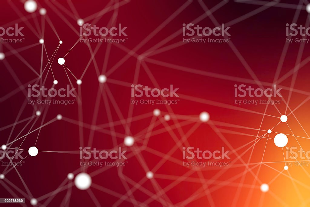 Lines and dots interconnecting stock photo