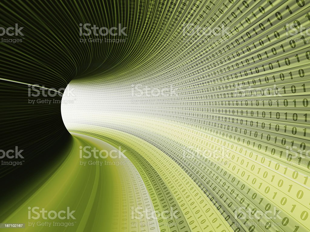lines of binary codes traveling through the virtual tunnel stock photo