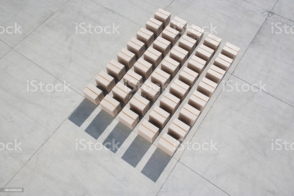 Lines of boxes stock photo