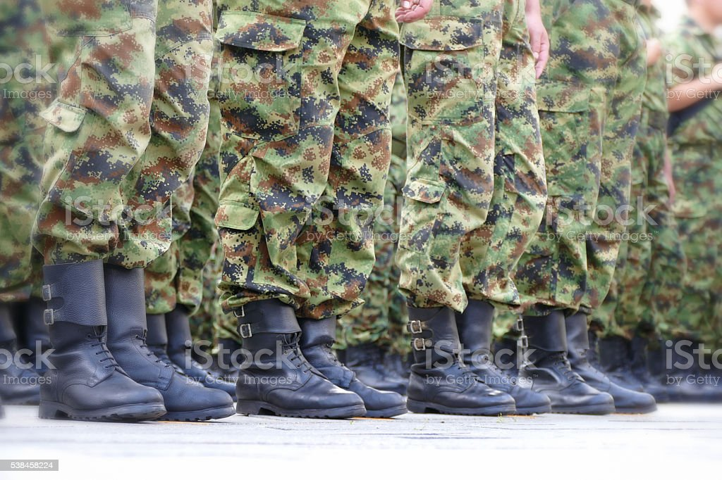 Lines  of commando soldiers stock photo
