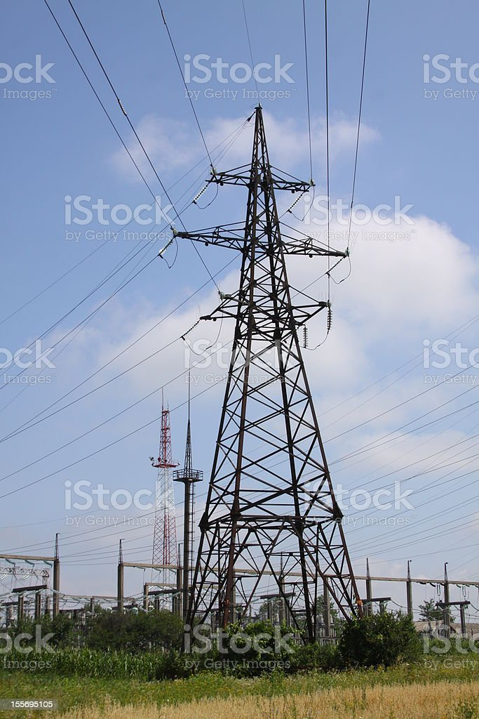 Lines of electricity transmissions stock photo