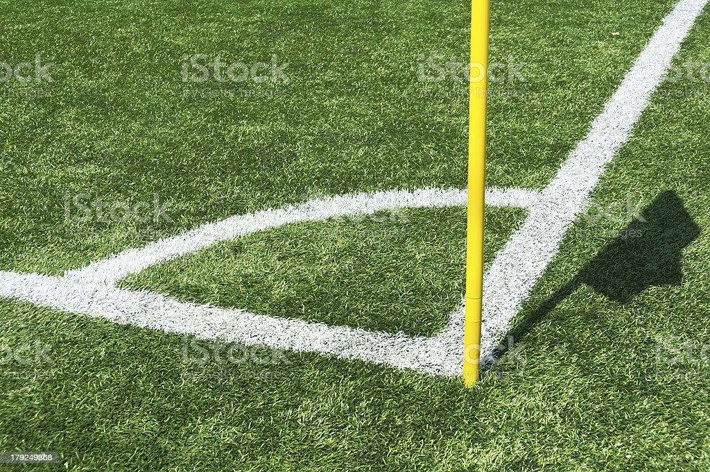 lines of football corner with flag royalty-free stock photo