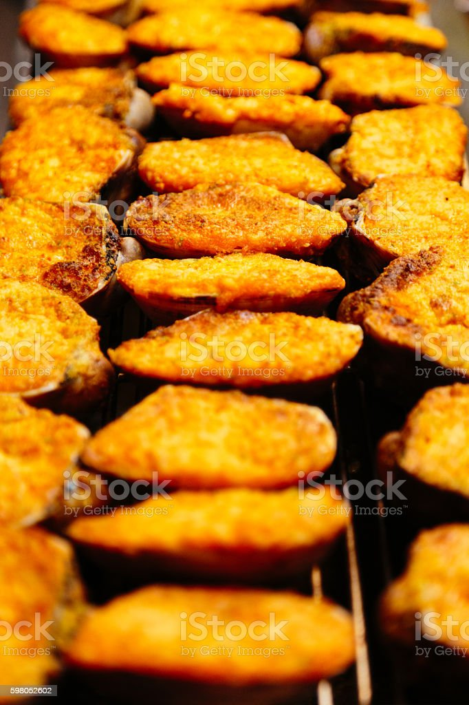 Lines of Fried Scallop stock photo