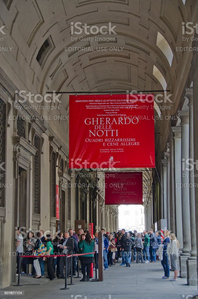 Lines of People at the Uffizi Gallery in Florence, Italy stock photo