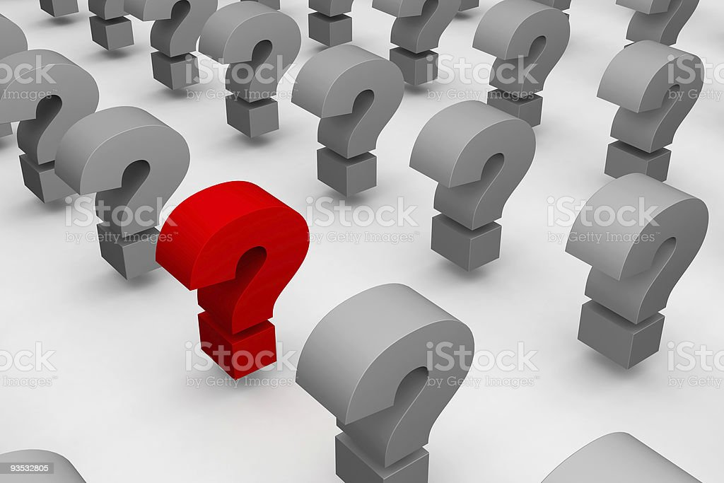 Lines of question marks stock photo