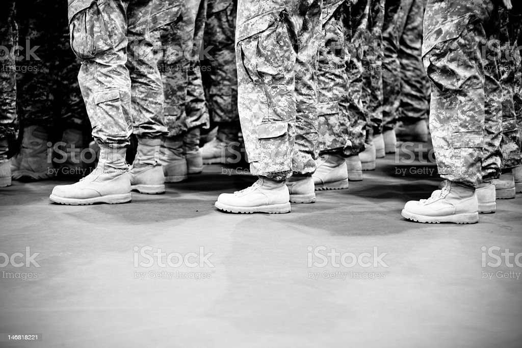 Lines of soldiers standing in formation stock photo