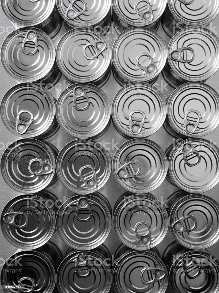 Lines of Tin Cans stock photo