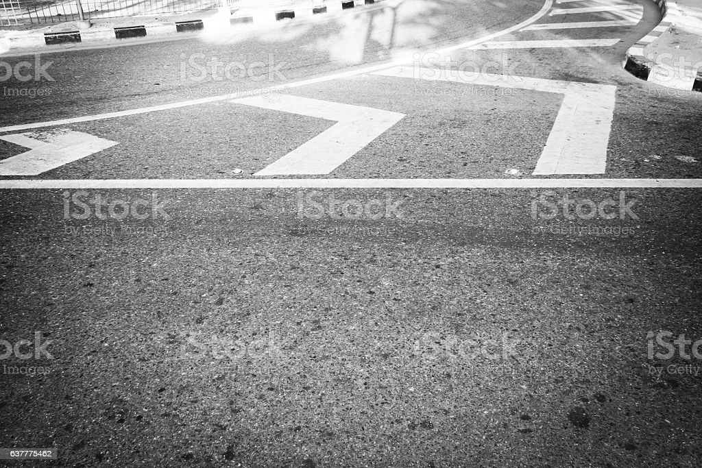 Lines on the road. Curve lines on the road. stock photo