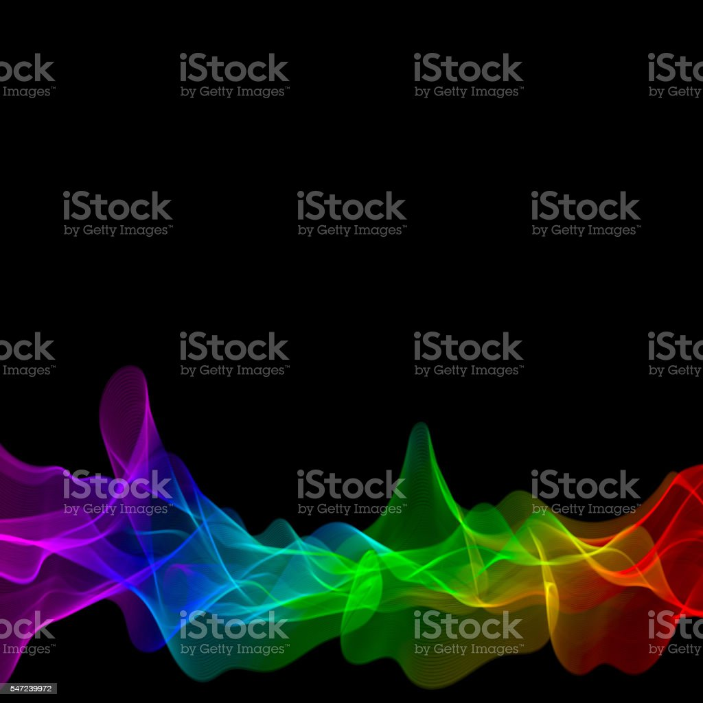 lines with colors of the rainbow on a black background stock photo