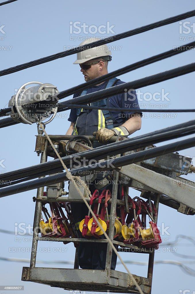 Linesman at Work stock photo