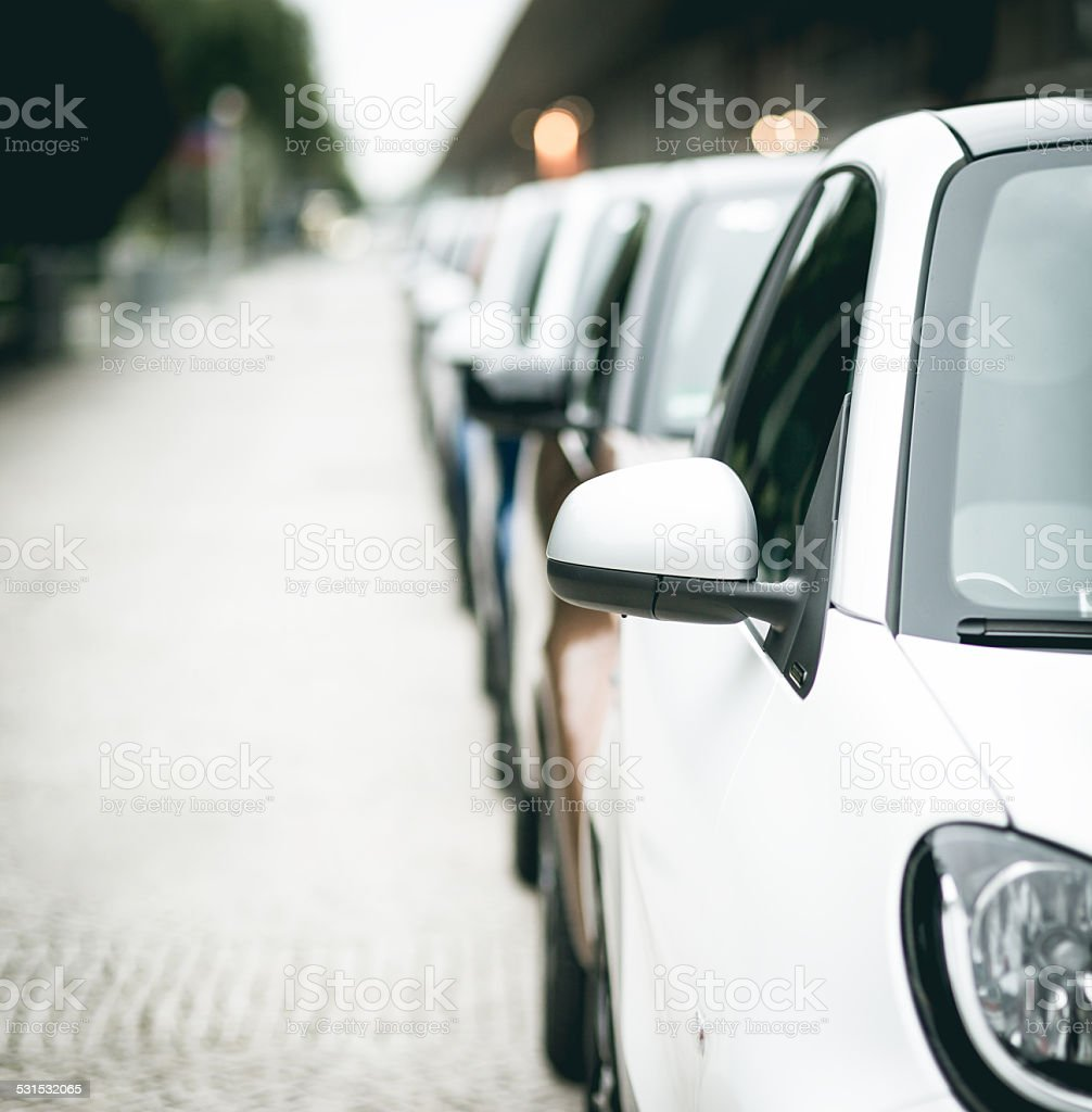 Lineup of Cars stock photo