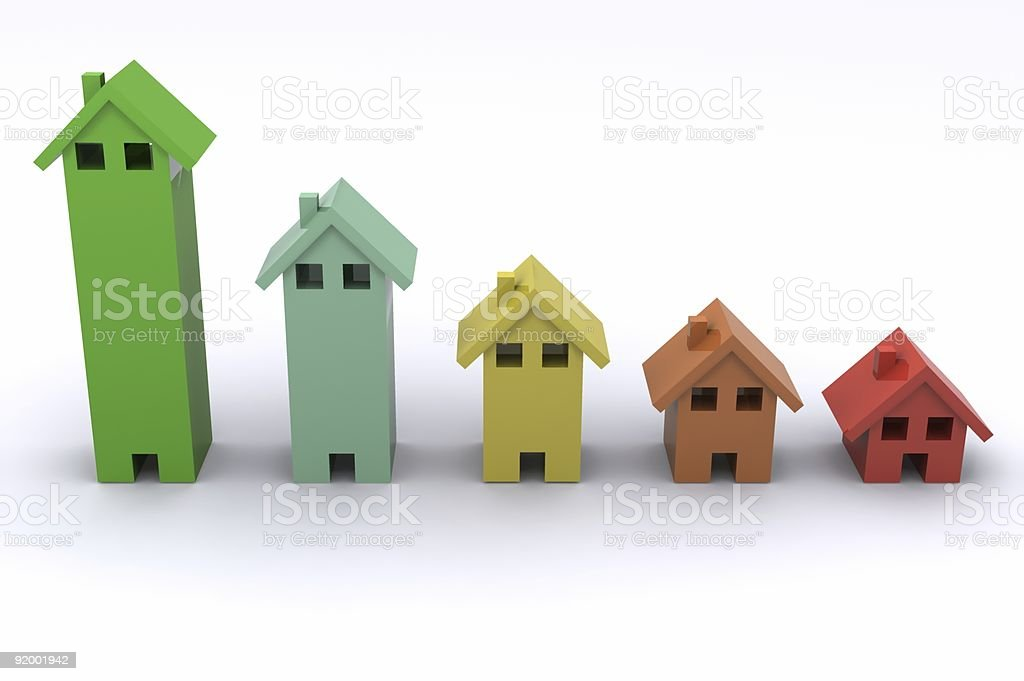 Lineup of five 3D houses in different colors stock photo