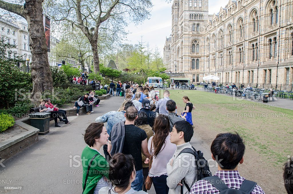 Line-up of people waiting to visit Natural History Museum stock photo