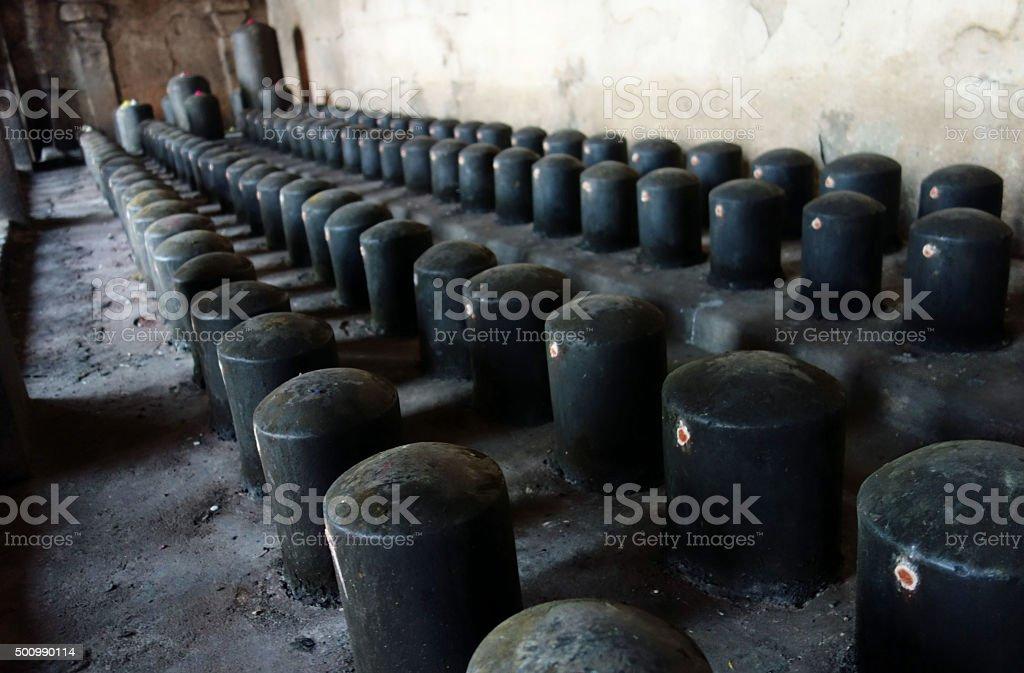 Lingams in Brihadisvara Temple stock photo