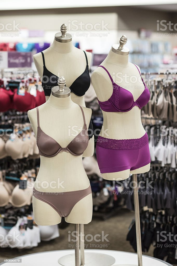 Lingerie Boutique selling colorful bras and panties. stock photo