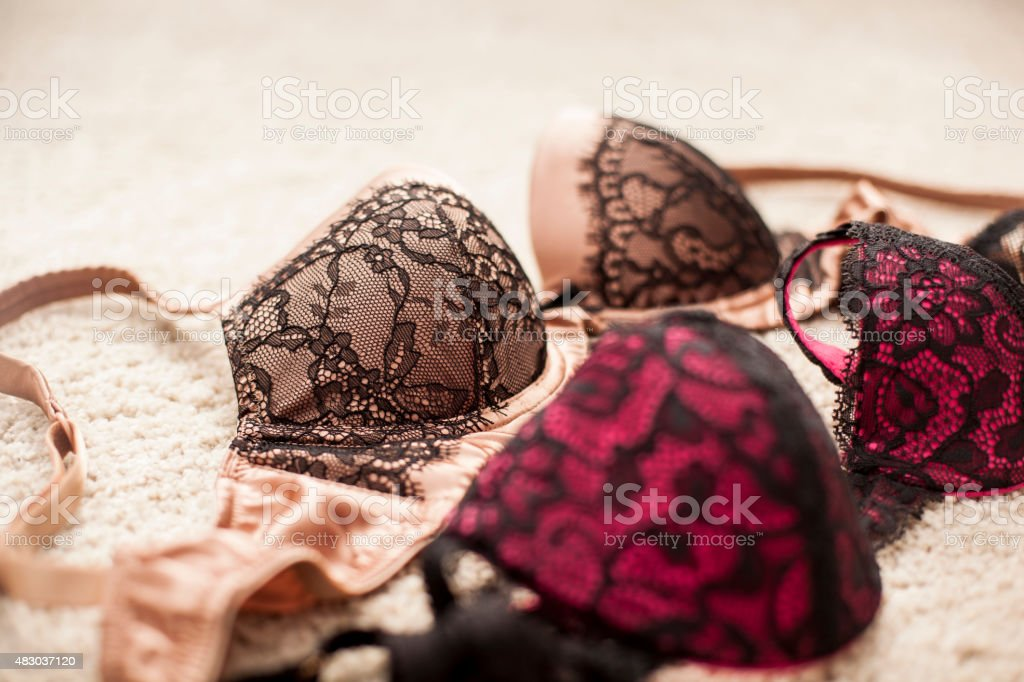 Lingerie on carpet stock photo