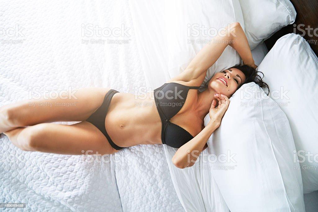 Lingerie should love your curves stock photo
