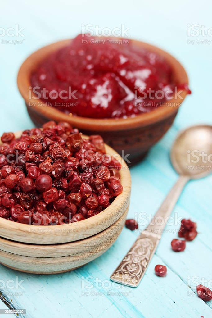 Lingonberry dry and jam stock photo