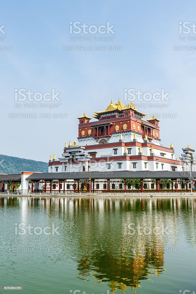 Lingshan Scenic Area Tibetan Buddhism architectural scenery in Wuxi,China stock photo