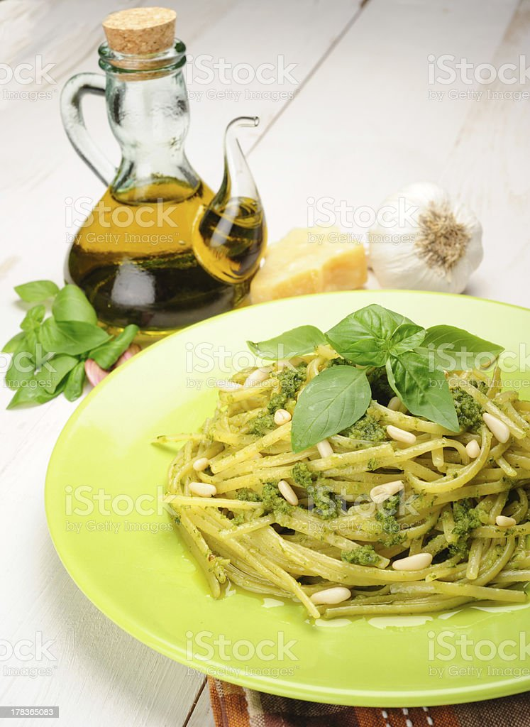 Linguine al Pesto royalty-free stock photo