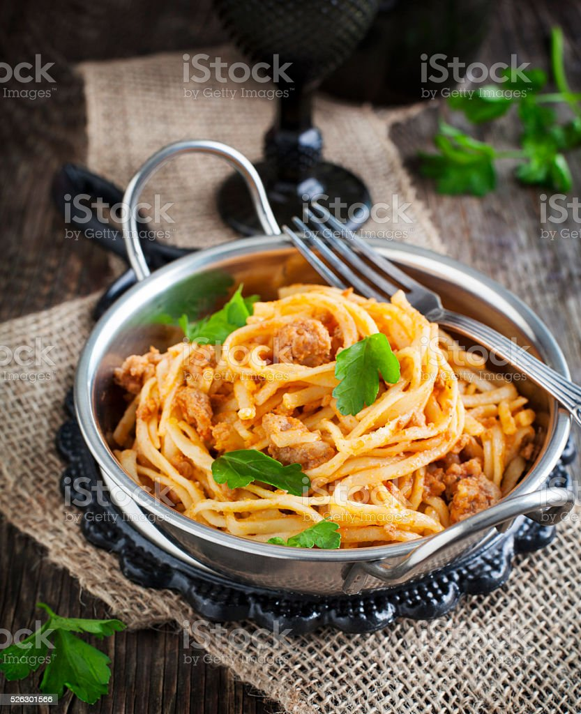 Linguine and meat tomato sauce. Italian pasta stock photo