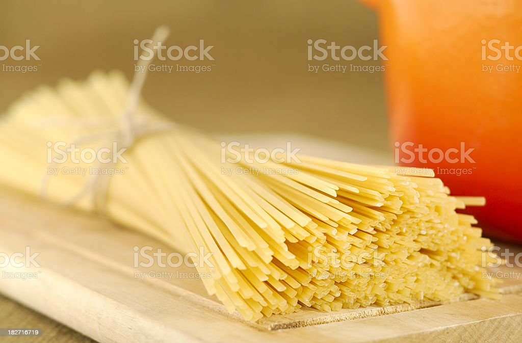 Linguine on a Cutting Board royalty-free stock photo