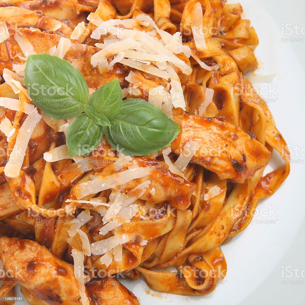 Linguine Pasta with Chicken royalty-free stock photo