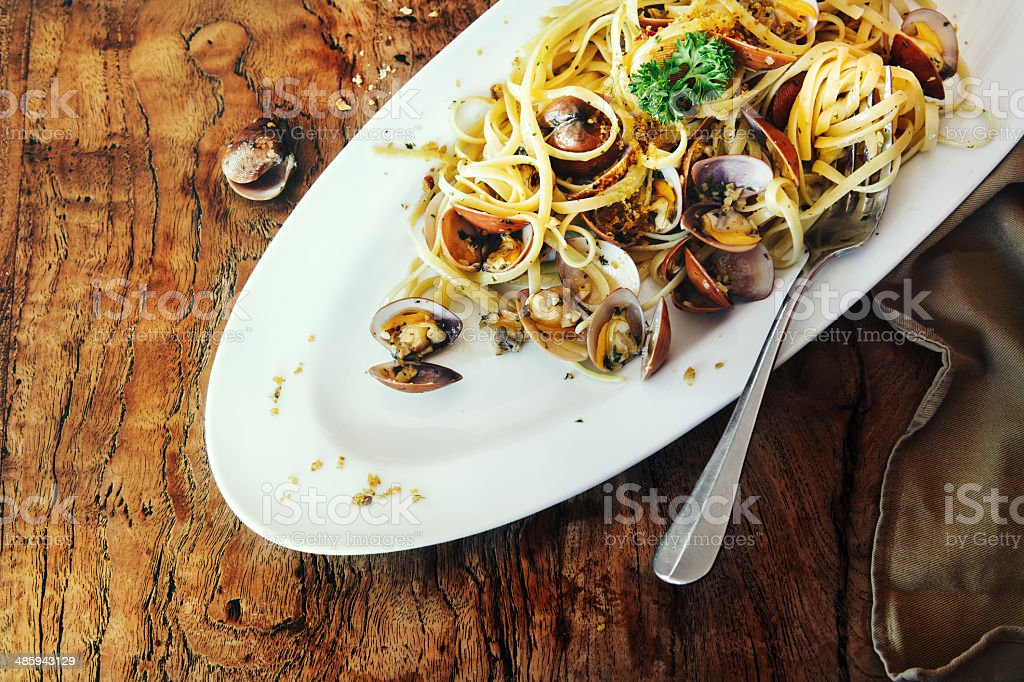Linguine pasta with fresh clams stock photo