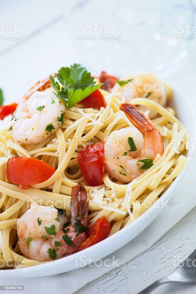 Linguine Pasta with Shrimp royalty-free stock photo