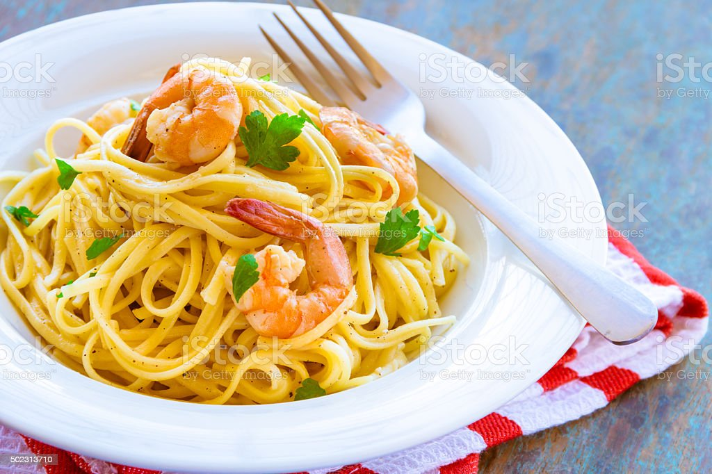 Linguine Pasta with Shrimps stock photo