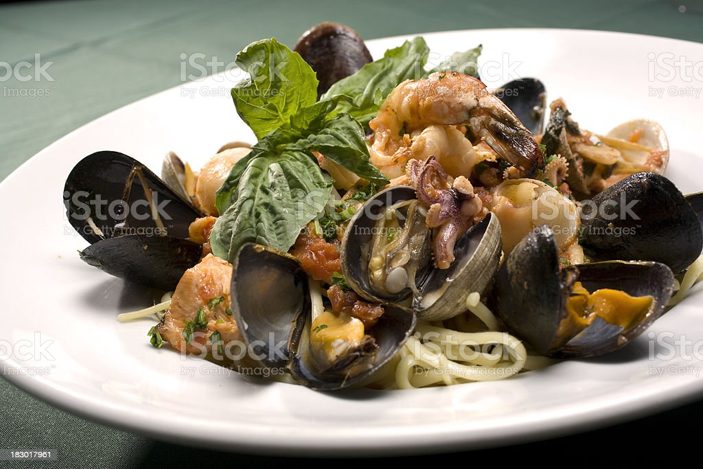 Linguine Pescatore Seafood Pasta royalty-free stock photo