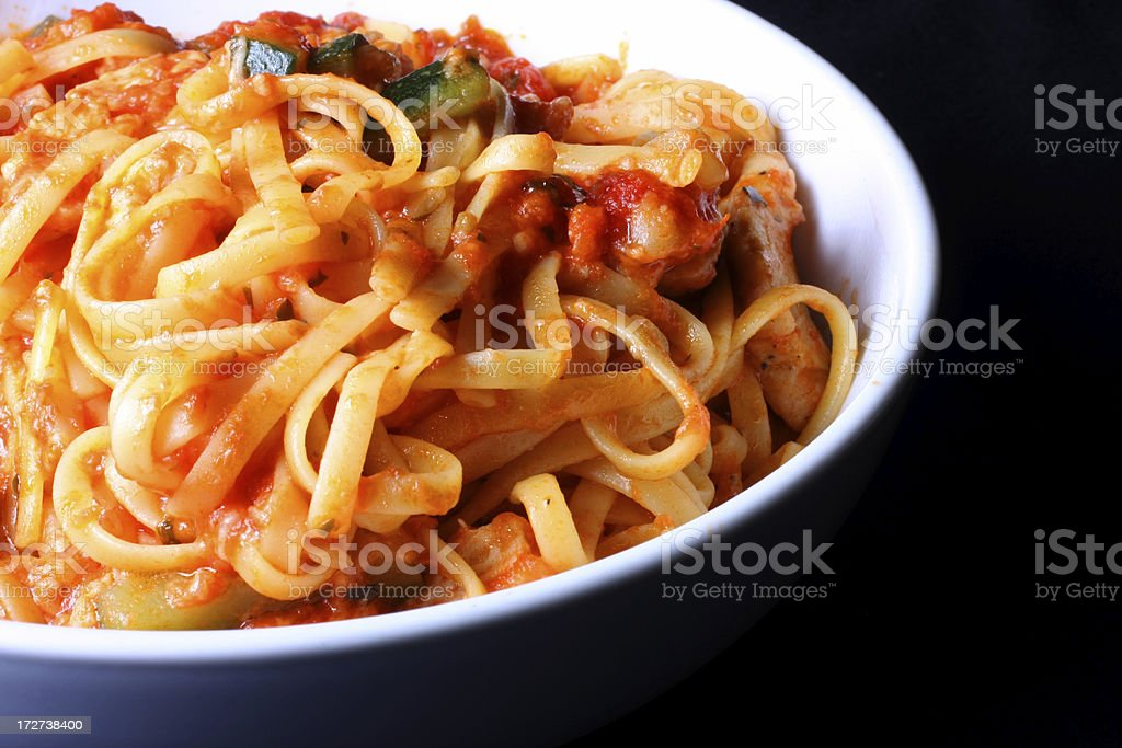 linguine with chicken and vegetables royalty-free stock photo