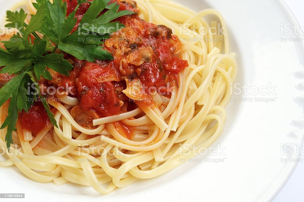 Linguine with Clams and Tomato Sauce royalty-free stock photo