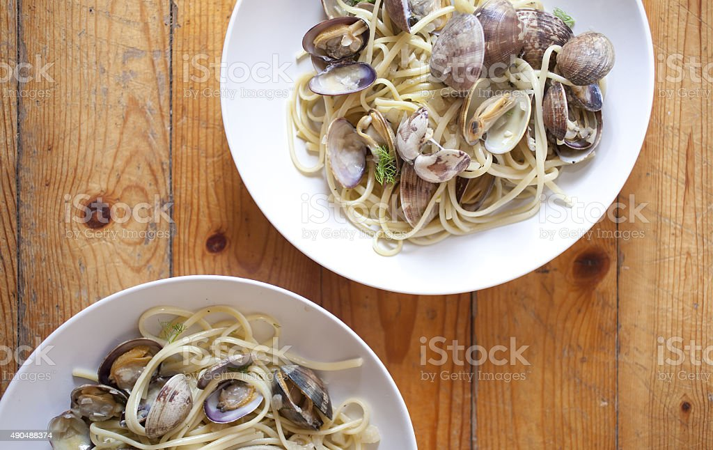 Linguine with clams stock photo