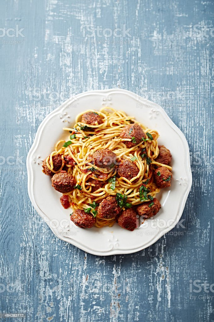 Linguine with meatballs stock photo