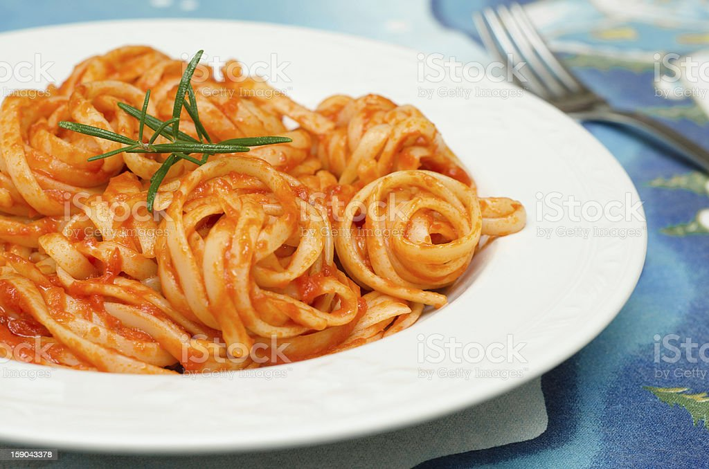 Linguine with tomato sauce royalty-free stock photo