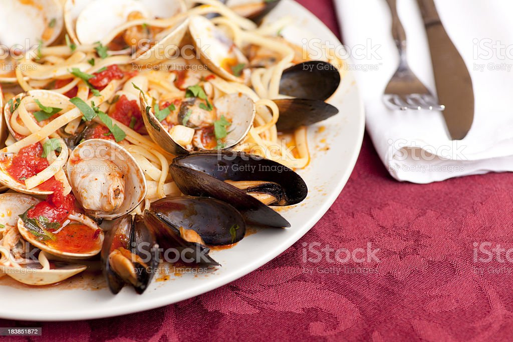 Linguini with mussels and clams royalty-free stock photo