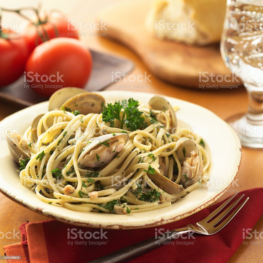 Linguini with White Clams stock photo