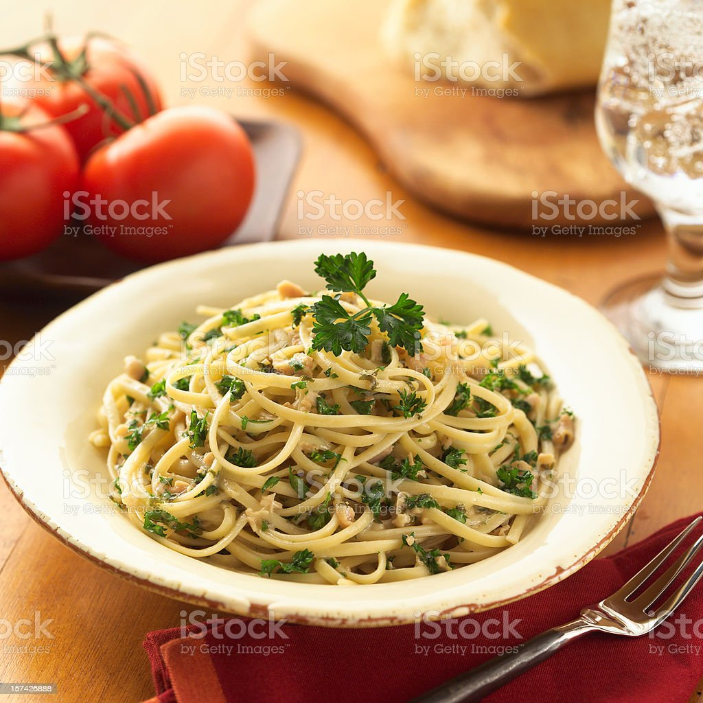 Linguini with White Clams royalty-free stock photo
