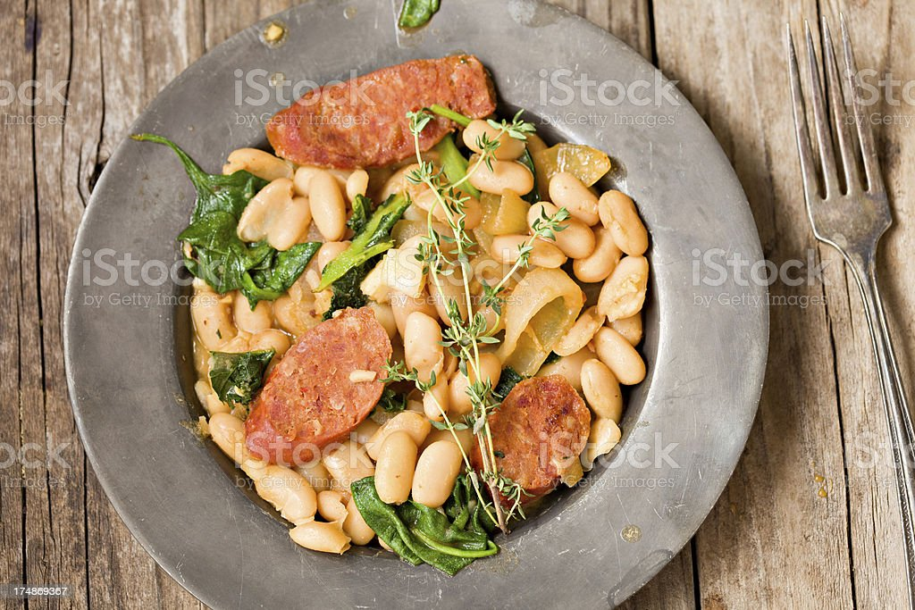 Linguiza And Beans stock photo